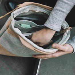 Rucksack aus Kork und recyceltem PET in Gru Konfetti von UlSto - Innenansicht