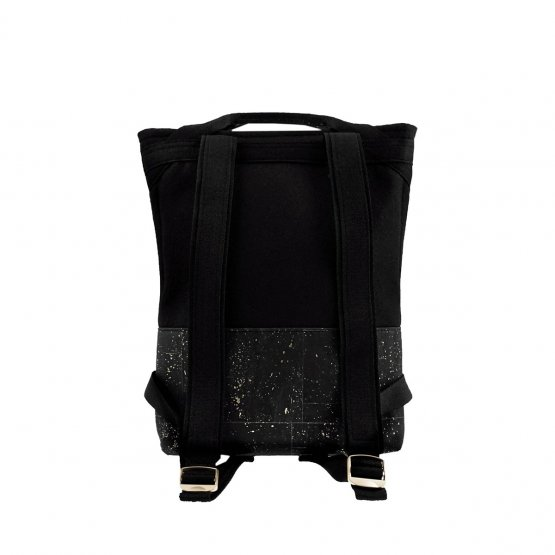 schwarzer Rucksack aus Kork und recyceltem PET von UlSto - Rückseite
