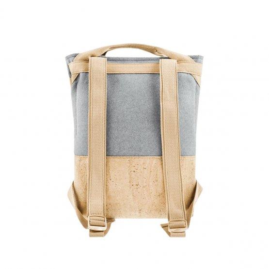 grauer Rucksack aus Kork und recyceltem PET von UlSto - Rückseite