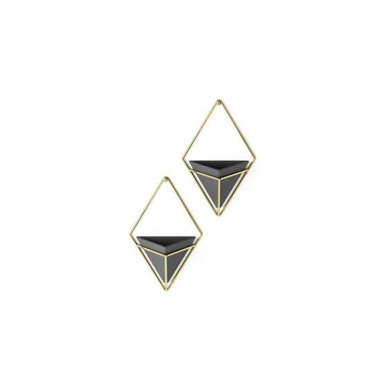 Zwei kleine Wandvasen in Gold/Schwarz