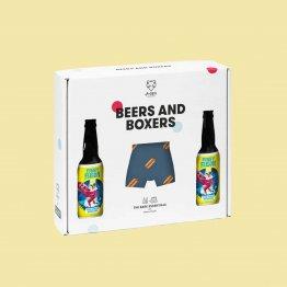 Geschenkset Beers & Boxers von A-dam Underwear mit einer Boxershorts mit Hotdogs bedruckt und zwei Flaschen niederländischem Craft Beer
