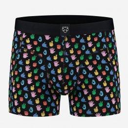 bunte Retropants mit Händen bedruckt von A-dam Underwear aus Bio-Baumwolle und Econyl