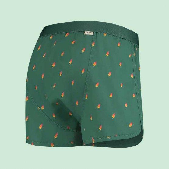 grüne Boxershorts mit Eis am Stil Motiv - Ansicht von hinten