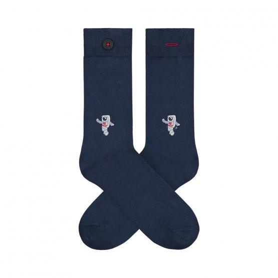 dunkelblaue Socken mit Astronaut von A-dam Underwear