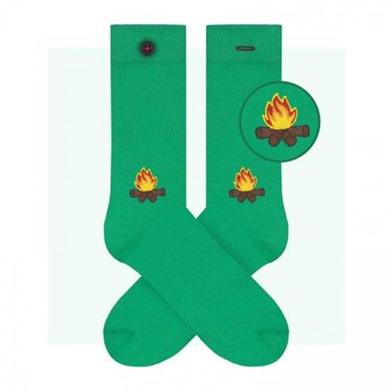 grüne Socken mit Lagerfeuer von A-Dam Underwear aus Bio-Baumwolle und Econyl