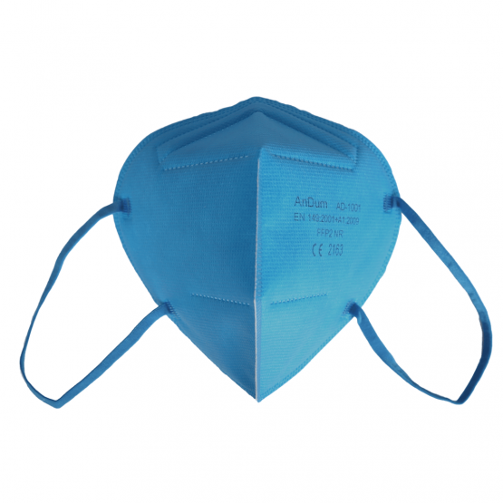 bunte FFP2 Masken in Hellblau