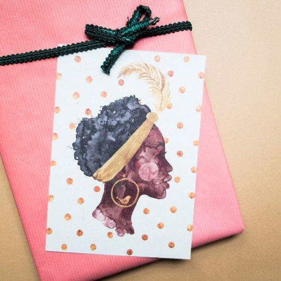 """Postkarte mit Afroamerikanischer Frau """"Bird Girl"""" von Bär von Pappe"""