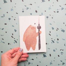 Postkarte mit dem Berliner Bär und Fernsehturm als Aquarell