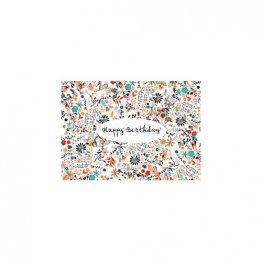 Geburtstagspostkarte mit Blüten von Bär von Pappe