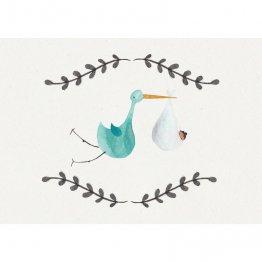 Postkarte mit Storch und Baby zur Geburt