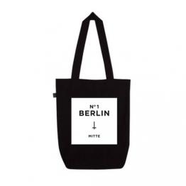 """schwarzer Beutel aus Biobaumwolle mit Aufdruck """"Berlin MItte"""" von Dit is Balin"""