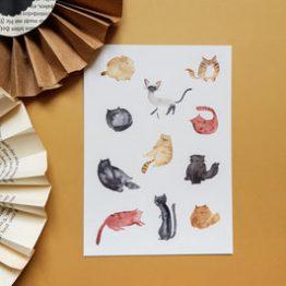 Bär von Pappe – Postkarte mit Katzen