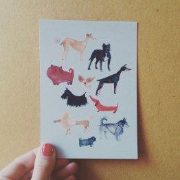 "Bär von Pappe – Postkarte ""Hunde"""