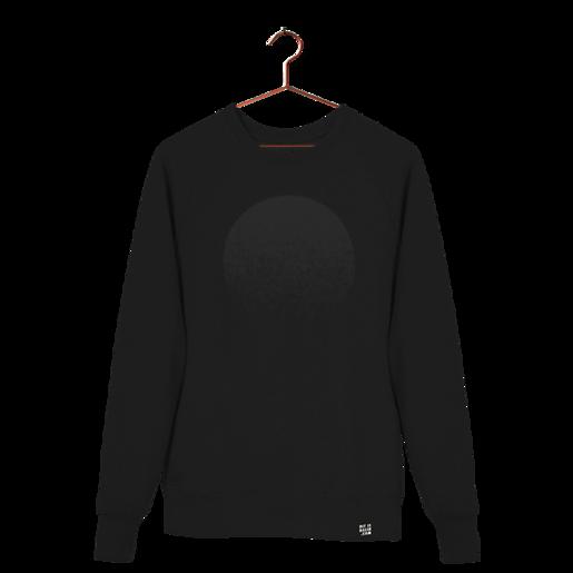 """schwarzer Pullover aus Biobaumwolle mit Aufdruck """"Black Moon"""" von Dit is Balin. fair produziert."""