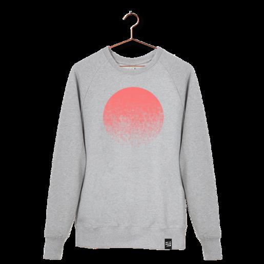 """grauer Pullover aus Biobaumwolle mit Aufdruck """"Sundowner"""" in Neon Pink von Dit is Balin. fair produziert."""
