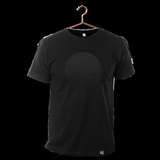 """schwarzes T-Shirt aus Biobaumwolle mit Aufdruck """"Black Moon"""" von Dit is Balin. fair produziert."""