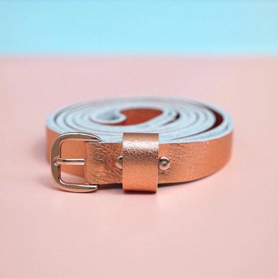 Ledergürtel zum Wickeln in Kupfer metallic