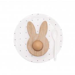 Eierbecher als Hase aus massivem Eichenholz