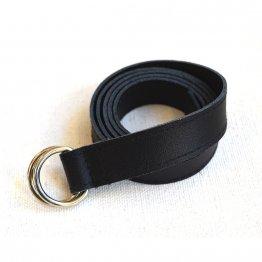Schmaler schwarzer Ledergürtel von Elektropulli. Fair in Deutschand hergestellt.