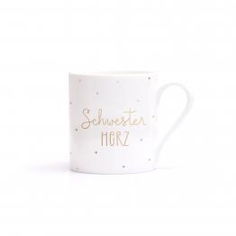 Porzellantasse Schwesterherz mit Aufdruck in Echtgold - ein super Geschenk für die Schwester