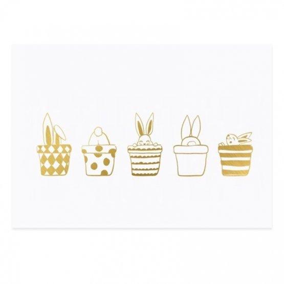 Postkarte mit fünf goldenen Häschen zu Ostern - von Eulenschnitt