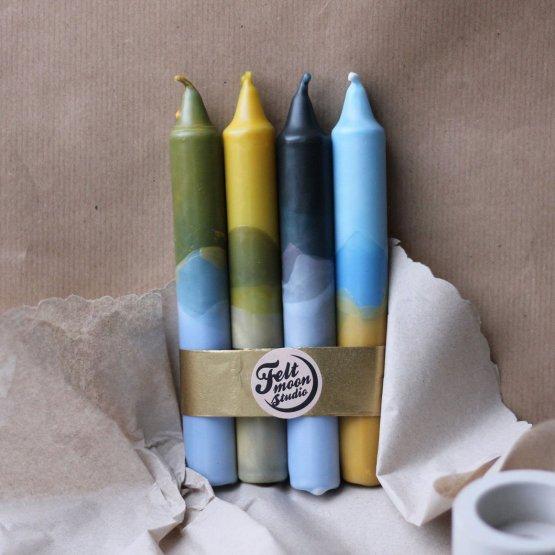 4er Kerzenset mit Farbverlauf in Blau Gelb von Felt Moon Studio