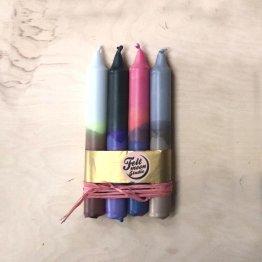 4er Kerzenset mit Farbverlauf in Rosa Grau Braun von Felt Moon Studio