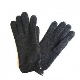 Wollhandschuhe Fingerhandschuhe in Dunkelgrau aus Schurwolle mit Lederpaspel