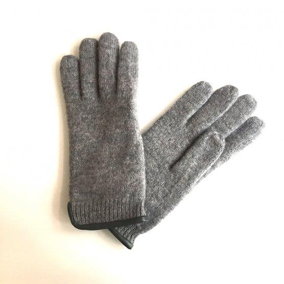 Wollhandschuhe Fingerhandschuhe in Grau Melange aus Schurwolle mit Lederpaspel