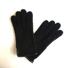 Wollhandschuhe Fingerhandschuhe in Schwarz aus Schurwolle mit Lederpaspel