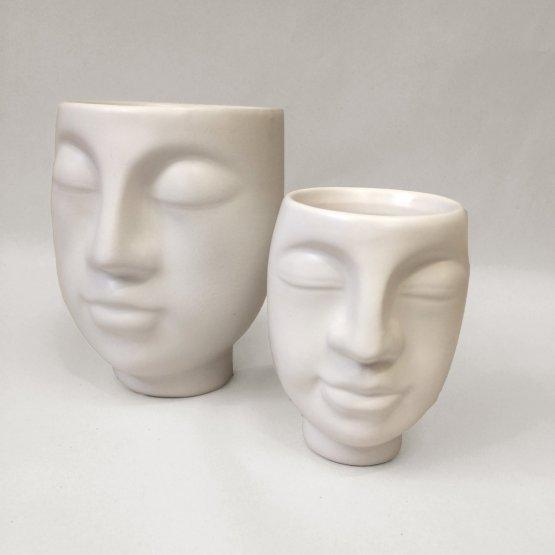 Face2Face Topf mit Gesicht in weiß