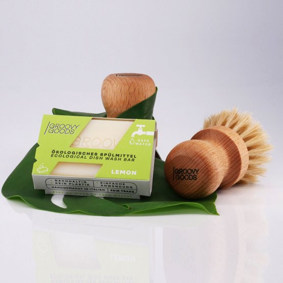 runde Spülbürste mit mittelharten pflanzlichen Borsten von Groovy Goods