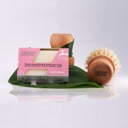 Festes Spülmittel Natural von Groovy Goods mit passender runden Bürste zum Abwaschen