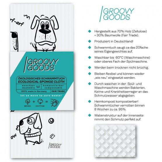 veganes Schwammtuch in weiß mit witzigen Hunden bedruckt