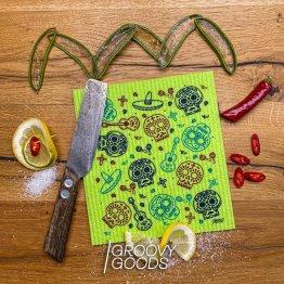 Ich bin ein grüner Schwamm im mexikanischem Style passe ich in JEDE Küche. Ich schrecke den Dreck in deiner Küche mit meinem Motiv ab und helfe dir deine Oberflächen und Töpfe sauber zu halten.