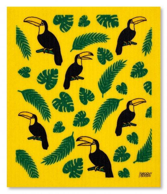 veganes Schwammtuch in Gelb mit Toucan und Blättern bedruckt - made in Germany