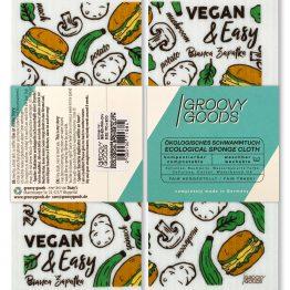 """Veganes Schwammtuch: Mich gibt es nur in weiß, und ich bin limitiert. Ich gehöre zu den beiden Kochbüchern von Bianca Zapatka! """"Vegan Foodporn"""" und """"Vegan & Easy"""" heißen diese."""