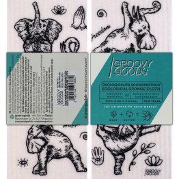 veganes Schwammtuch mit Yoga Elefant von Groovy Goods