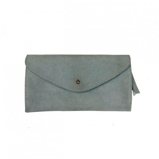 blaugraue lange Ledergeldbörse aus glattem und Veloursleder mit 6 Kartenfächern von Icveogel Berlin