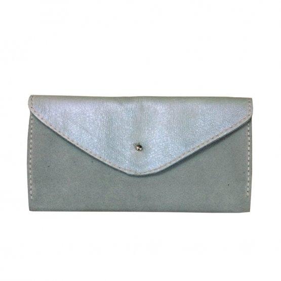 blaugrau schimmernde Ledergeldbörse aus glattem und Veloursleder mit 6 Kartenfächern von Icveogel Berlin