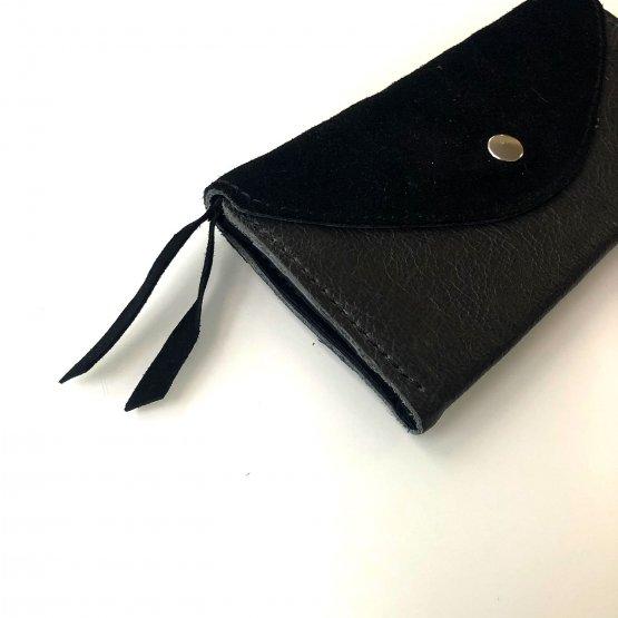 schwarze lange Ledergeldbörse aus glattem und Veloursleder mit 6 Kartenfächern von Icveogel Berlin