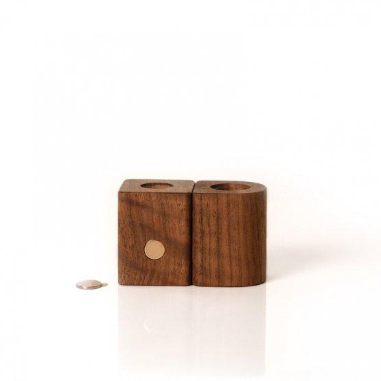 magnetische Holzvase aus Nussholz für Blumen oder Zahnbürsten