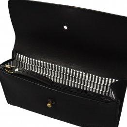 """große Geldbörse aus schwarzem Leder """"Pixie's Pouch"""" von O my Bag - Detailansicht Innenleben"""