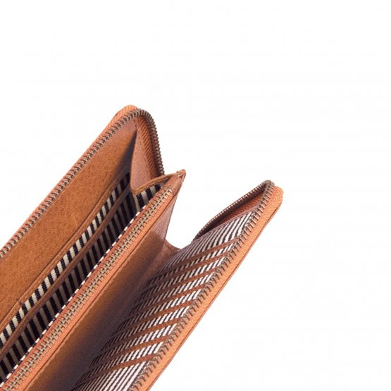 """Große hellbraune Geldbörse mit Zipper """"Sonny Long"""" von O my Bag – großes Portemonnaie"""