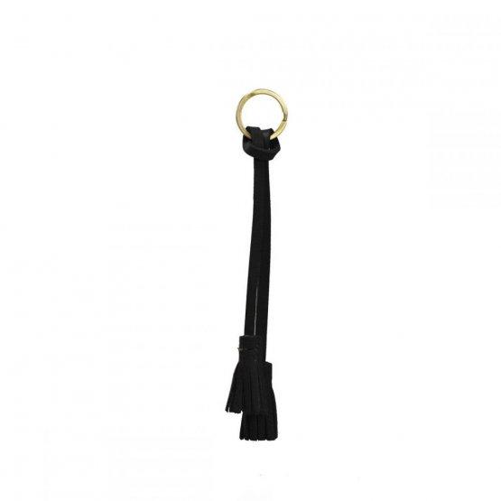 Schlüsselanhänger Tassel aus schwarzem Leder von O my Bag
