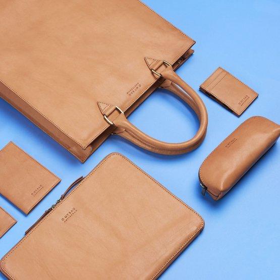Federtasche aus Eco Leder in Beige von O My Bag
