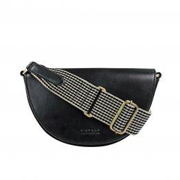 schwarze Halbmondförmige Handtasche aus Leder mit auswechselbarem Träger von O My Bag