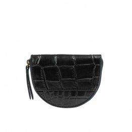 schwarze halbrunde Geldbörse mit Croco Prägung aus Eco-Leder von O My Bag