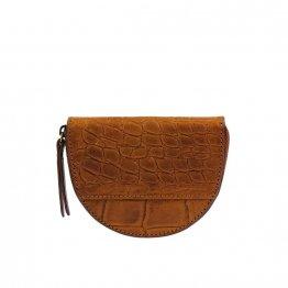 Braune halbrunde Geldbörse mit Croco Prägung aus Eco-Leder von O My Bag