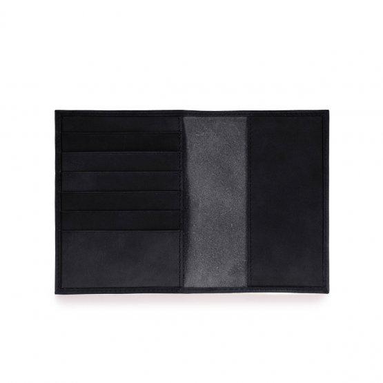 schwarzes Lederetui Innenansicht mit Kartenfächern für Reisepass, Mutterpass oder als Portemonnaie von O My Bag